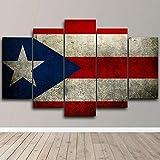 Lienzos decorativos Bandera de Puerto Rico República Dominicana-150x80 CM Cuadros Modernos Impresión de Imagen Artística Digitalizada Lienzo Decorativo Para Salón o Dormitorio 5 Piezas