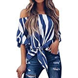 CapsA Women Striped Off Shoulder Bell Sleeve Shirt Tie Knot Casual Blouses Tops