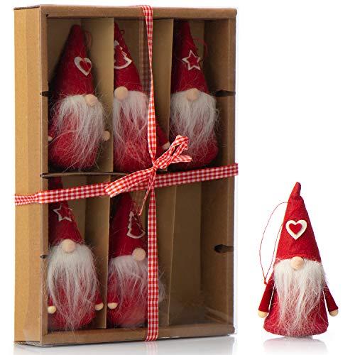 com-four 6X Premium Santa Claus Colgante en Rojo para el árbol de Navidad, Varias Figuras de árbol de Navidad Colgante como decoración de árbol, Decoraciones de Navidad (06 Piezas - gnomo Rojo)