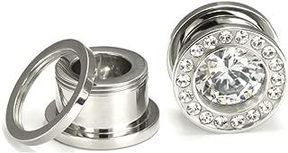 Painful Pleasures BLING Threaded Tunnel Plugs High Polish Steel Ear Jewelry 0g - 1