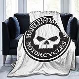 Harley Davidson Flannel Blanket Ultra-Soft Micro Fleece Blanket Sofa Warm Throw Lightweight 80'X60'