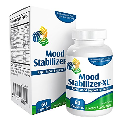 Mood Stabilizer-XL: Mood Support Supplement (5-HTP, Ashwagandha Extract, GABA, Chamomile Extract, Vitamin B-1, Vitamin B-2, Niacinamide, Vitamin B-6, Folic Acid, Vitamin B-12, Calcium, Magnesium, DMAE Bitartrate),60 caps
