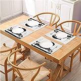 FloraGrantnan - Manteles individuales para mesa de comedor lavables, indie dibujado a mano, con dientes largos, pipa de fumar antromórfico, cena, barbacoa, buffet, juego de 8