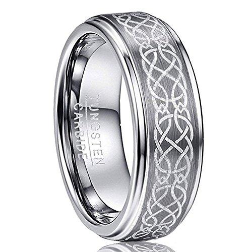 VAKKI Polished Tungsten Rings 8mm Width Laser Celtic Knot Wedding Bands for Men Women Size Z+1