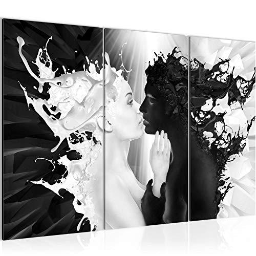Runa Art Lait Et Café Peinture Tableau Salon XXL Noir Blanc Romantique 120 x 80 cm 3 Parties Decoracion Murale 005031b