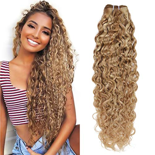 FASHION LINE Brazilian P27/613 Water Wave Blonde Human Hair Extensions Unprocessed Human Hair Bundles Weft 1PC 100g(18')