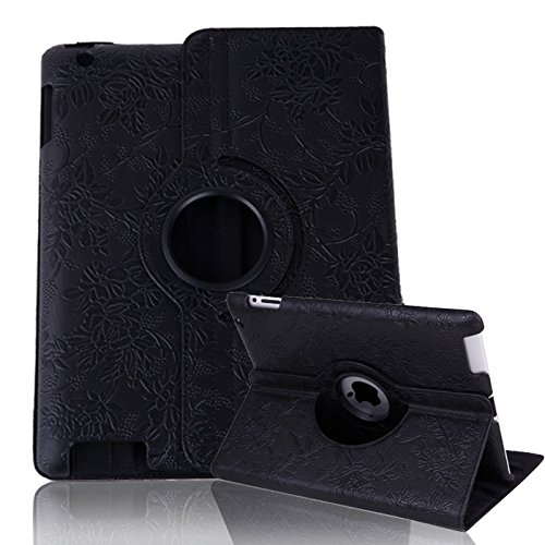 HDE iPad 2/3/4 Tablet Case Rotating Flip Stand Folding Magnetic Cover Designer for Apple iPad 2/3/4 (Black Flower)