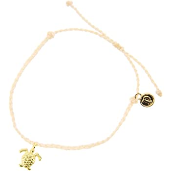 Pura Vida Bitty BB Turtle Charm Bracelet - Plated Charm, Adjustable Band - 100% Waterproof