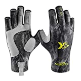 KOOFIN GEAR Fishing Gloves Sun Protection Fingerless Gloves UPF50 Men Women for Outdoor Kayaking Hiking Paddling Driving Canoeing Rowing,Black Camo,X-Large