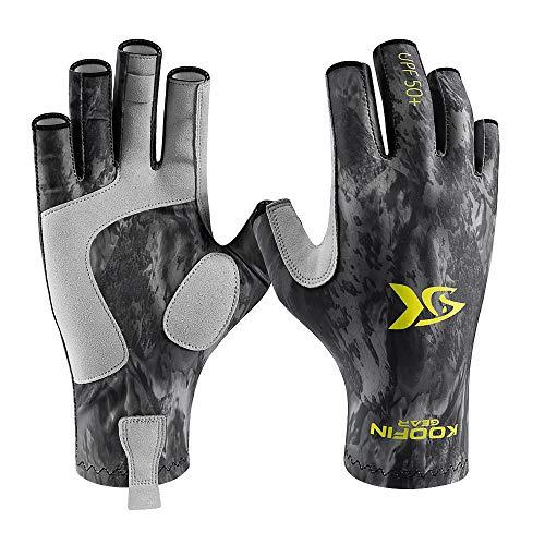 KOOFIN GEAR Fishing Gloves Sun Protection Fingerless Gloves UPF50 Men Women for...
