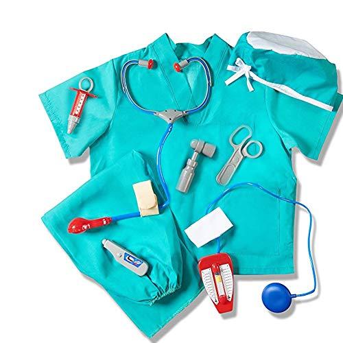Waroomss Surgeon Kostüm für Kinder, Kinder Halloween-Arzt Dress Up mit Durable Case Blau Chirurg Kit Spielzeug Chirurg Zubehör für Kleinkind Kinder Alter 4-8