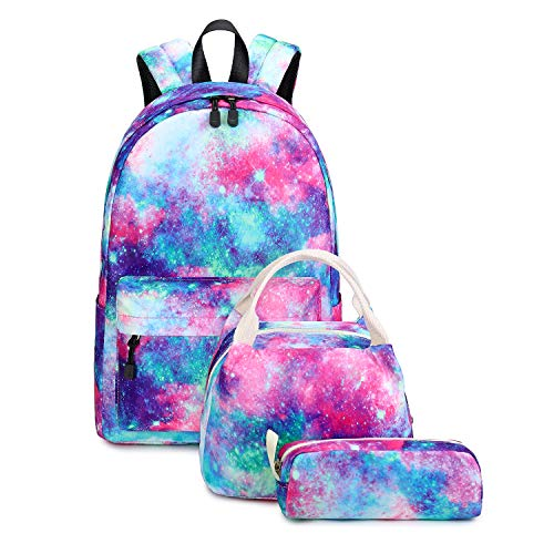 Abshoo Lightweight Water Resistant Backpacks for Teen Girls School Backpack with Lunch Bag (Galaxy A Set)