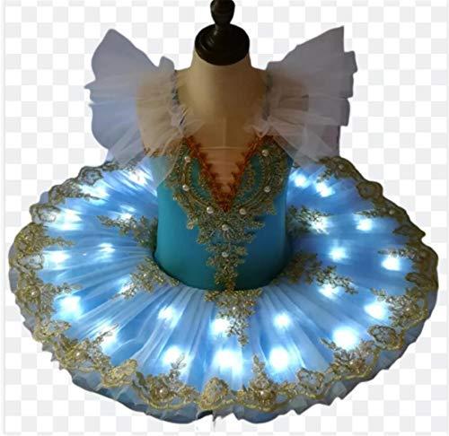 ZLYY Tut de ballet LED para nios y nias, vestido de lago de cisne, tut para tortitas, bailarinas, disfraces, fiesta, azul, 120 cm