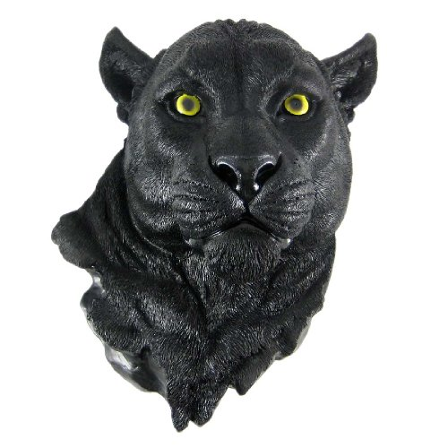 DWK 'Night Vision' Black Panther Faux Taxidermy Hanging Wall Bust Sculpture | Hunting Decor for your Home Office | Wall Decorations for Living Room - 17'