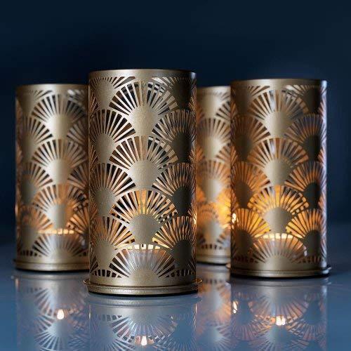 Duni Kerzenhalter Metall Peacock gold 140 x 75 mm