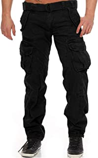 waitFOR Trousers for Men, Man Baggy Solid Color Cargo Trousrs with Multi Pockets Teen Boys Elastic Waist Stretch Sweatpant...