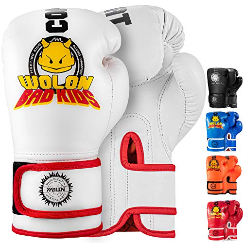 TEKXYZ Bad Kids Series Boxing Gloves 6 OZ, White - Synthetic Leather Kids Boxing Training Gloves with Vivid Color for Boys and Girls Age 3 to 12 Years Old
