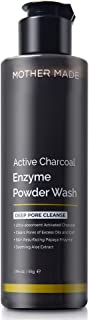 MOTHER MADE Active Charcoal Enzyme Powder Facial Cleanser with Bamboo Charcoal, Papaya, Aloe Vera, A Natural Face Wash for Smooth Skin, Pore Minimizing, Blackhead Removal and Daily Treatment, 1.94 oz