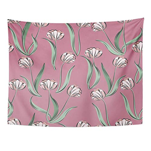 Decor Wall Tapestry 1950S Retro 1940S Pattern In Flowers Of Cute Tulips Vintage Floral Fills Decoupage Colors 1960S 60 X 50 Inches Wall Hanging Picnic For Bedroom Living Room Dorm 80x60in(150x200in)