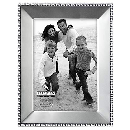 Malden International Designs Marquee Bead Satin Nickel Picture Frame, 5x7, Nickel