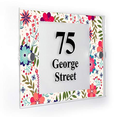 Plaque de numéro de maison personnalisée avec motif floral coloré, résistant aux intempéries, impression leader sur le marché
