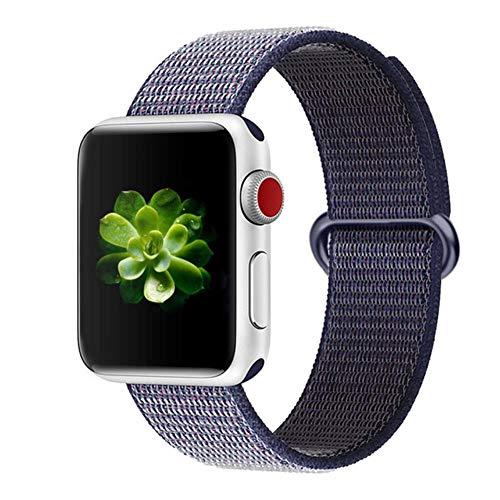 Cinturino in Nylon per Apple Watch 5 Cinturino 44 Mm 42 Mm 38 Mm 40 Mm per Serie Iwatch 4 3 2 1 Accessori Cintura Braccialetto di Ricambio, Blu Notte, 38 Mm O 40 Mm