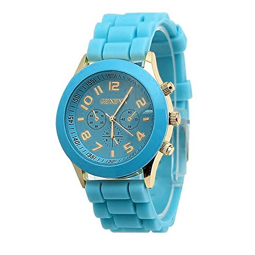 Price comparison product image Unisex Boys Girls Geneva Wrist Watch,  Hengshikeji Unique Numeral Womens and Mens Geneva Silicone Jelly Strap Quartz Wrist Watch Fashion Bracelet Waterproof Sports Watch for Teens