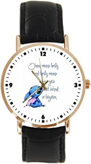 Lilo and Stitch Quote Quotes Wrist Watch Custom Leather Sports Men and Women Fashion Gold Watch Neutral
