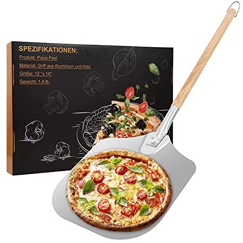 Pala per pizza Pala professionale in alluminio -90 cm, con generosa superficie d'appoggio (30,5x35,5 cm), manico in legno extra lungo rimovibile.