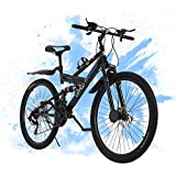 26 inch Mountain Bike, 21 Speed Shimano Drivetrain Carbon Steel Mountain Bicycle for Adults, Non-Slip Bike,Full Suspension Disc Brake MTB for Outdoor Men and Women,Fast Delivery (Black)