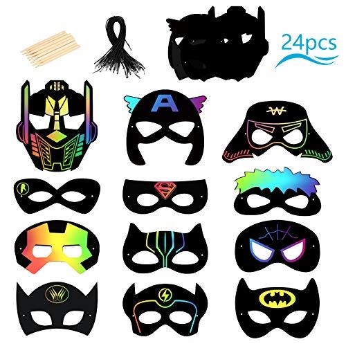 SEELOK Superhelden Kratzkunst Maske, 24Stk Regenbogen Superheld Magische Kratzpapier Maske Schwarzes Malbrett mit Holzstift und Schnüre für Kinder DIY Handwork Students klassroom