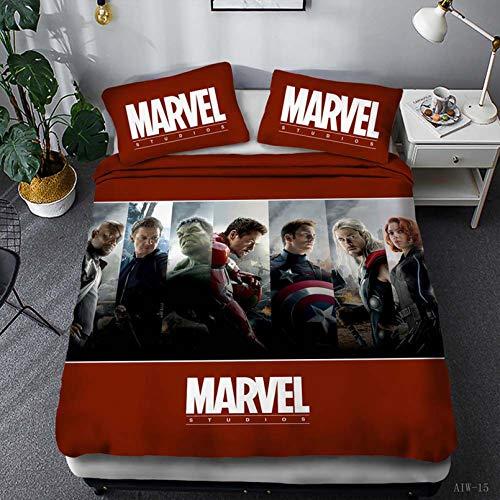 BATTE - Set di biancheria da letto per bambini, motivo: The Avengers, stampa digitale 3D, copripiumino con federe per letto singolo/matrimoniale/king size, in microfibra rossa, 140 x 210 cm