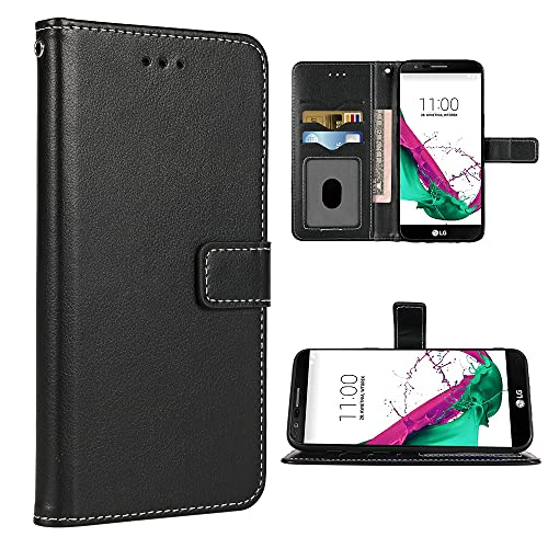 FDCWTSH Compatible with LG G4 Wallet Case Wrist Strap Lanyard Leather Flip Cover Card Holder Stand Cell Accessories Folio Purse Credit ID Phone Cases for LGG4 LG4 4G Women Men Black