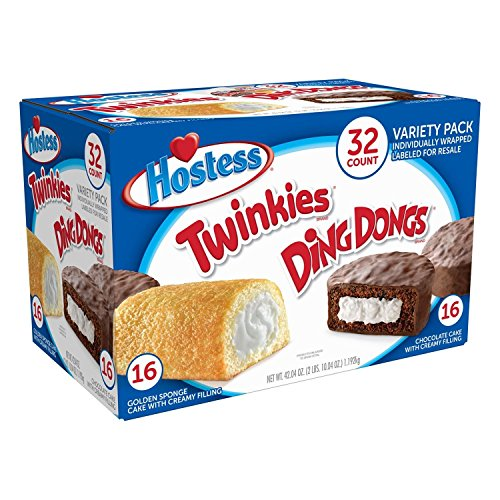 Hostess Twinkies & Ding Dongs (16 Twinkies & 16 Ding Dongs), Individually Wrapped, 32 Total