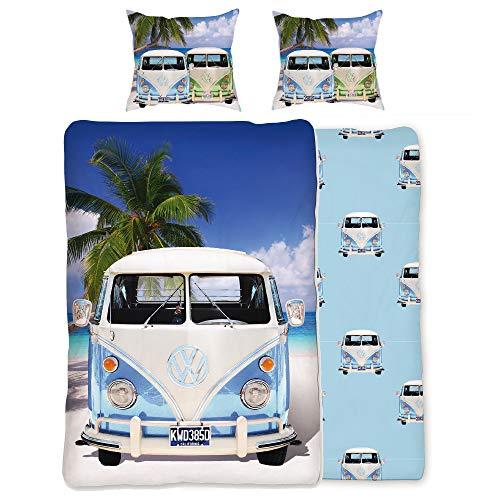 BERONAGE VW Volkswagen Bulli Bettwäsche Campervan hellblau 135 cm x 200 cm + 80 cm x 80 cm VW-Bus T1 100% Baumwolle in Renforcé-Linon-Qualität Camper Van Retro mit Reißverschluss 048