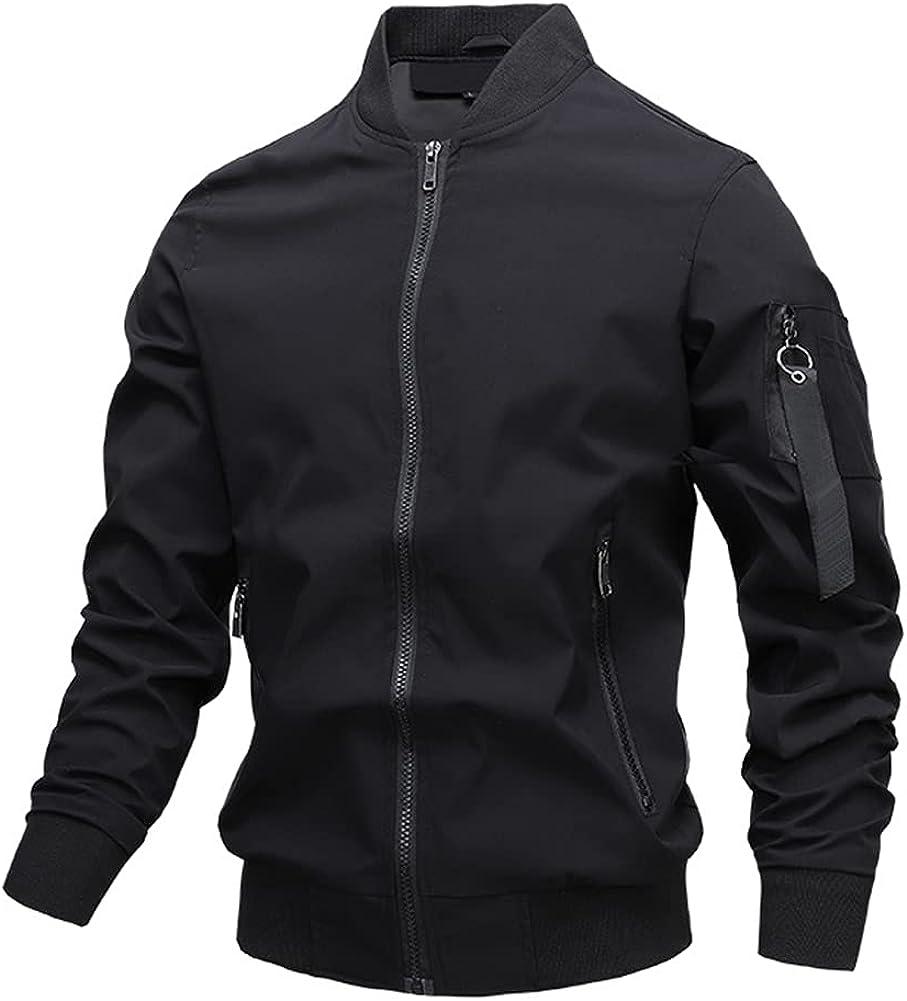 SCOFEEL Men's Casual Slim Fi Lightweight Bomber Jacket Waterproof Windbreaker t Varsity Outerwear Coat