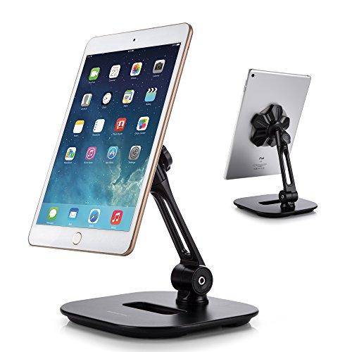 AboveTEK Sleek Magnetic Tablet Stand, Aluminum iPad Cell Phone Stand w/Extra Bonus Metal Disks, 360