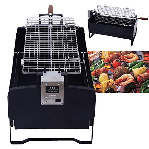 Hedii Electric Rotating BBQ Grill, Charcoal Barbecue, Portable Outdoor Garden Park Use, Stainless Steel Barbecue Grill Suitcase Style