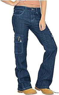 Remanlly Women Destoryed Flare Jeans Button Wide Leg Denim Cargo Pants Combat Jeans