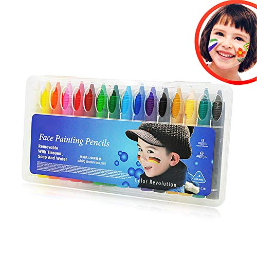 PerGrate 16 Color Face Painting Crayons Körperbemalung Bleistifte Sticks ungiftig Easy Wash
