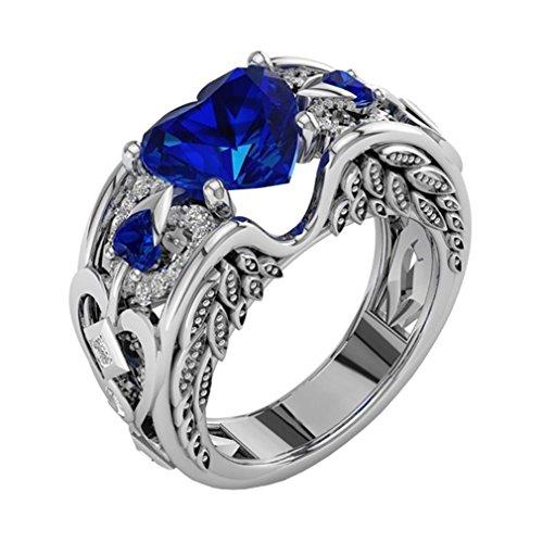 Fashion Ring, UMFun Women Ruby Gemstones Birthstone Bride Heart Princess Engagement Ring Jewelry Gift(Blue, Size6(16mm))