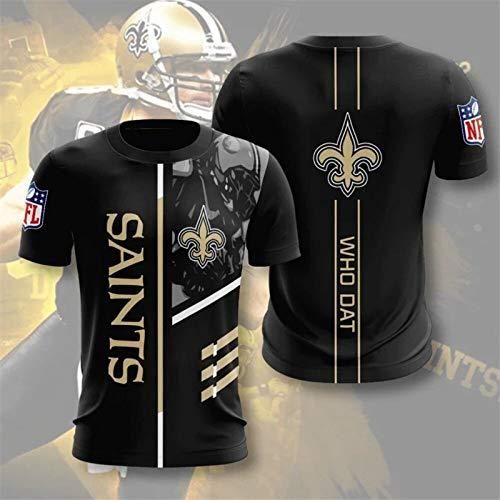 Xiaolimou Camiseta De Los Hombres De La NFL New Orleans Saints Casual Cartas De Manga Corta, Adolescente Loose Jersey De Deportes, Regalos para Los Fanáticos del Rugby, No Se Desvanecerá,XXS
