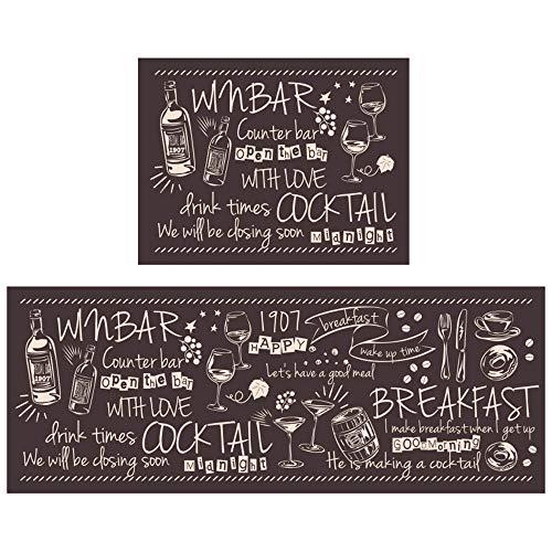Xyanzi Letterpatroon keukentapijten, 2-delig, Anti-vermoeidheid keuken vloermat, Comfortabele staande matten, waterdicht PVC antislip, wasbaar voor binnen en buiten (Color : Coffee color)