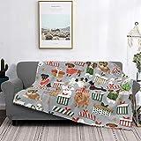Manta de microfibra ultrasuave para decoración del hogar, manta de franela cálida antipilling para sofá, cama, campamento de 60 x 50 pulgadas, perros de Navidad lindos razas de perro de juguete