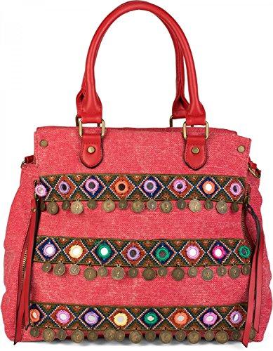 styleBREAKER borsa in tela con manici in stile etnico con ricami, monete, specchi, effetto juta, borsa a tracolla, borsa, da donna 02012110, colore:Rosso a pois