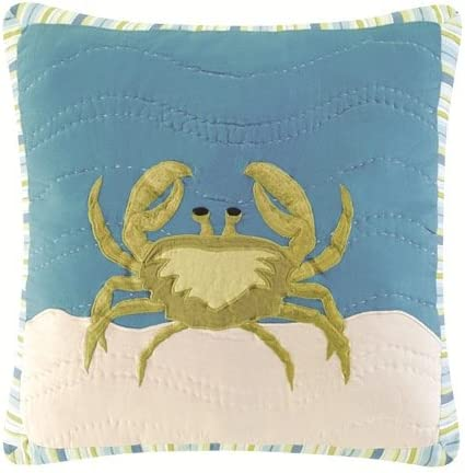 Coastal New products, world's highest quality popular! Nautical Crab Hooked Wool Throw Dealing full price reduction Accent Pillow