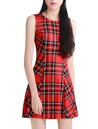 Allegra K Women's Plaid Vintage Summer Mini A-Line Sleeveless Fit and Flare Dress Red XL (US 18)