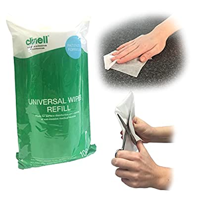 Clinell UNIVERSAL MULTIPURPOSE SURFACE NHS APPROVED SKIN FRIENDLY MEDICAL CLEANING 100 WIPES DISPENSER TUB REFILL by Steroplast