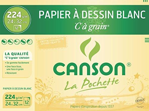 Canson Pochette C à grain Papier à dessin 12 feuilles 224 g 24 x 32 cm Blanc Naturel