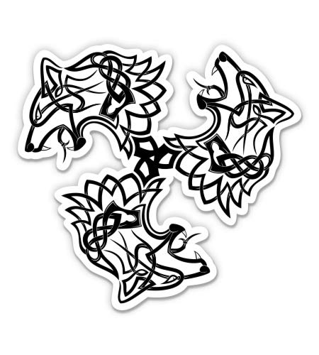GT Graphics Express Wolf Triksel Celtic Tribal Tattoo - 5' Vinyl Sticker - for Car Laptop I-Pad - Waterproof Decal